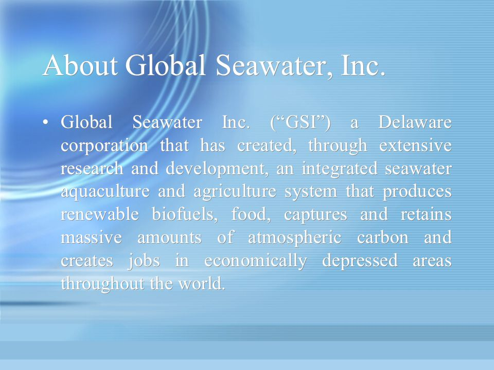 About Global Seawater, Inc.
