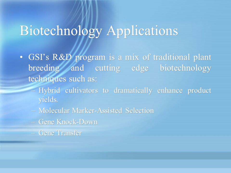 Biotechnology Applications