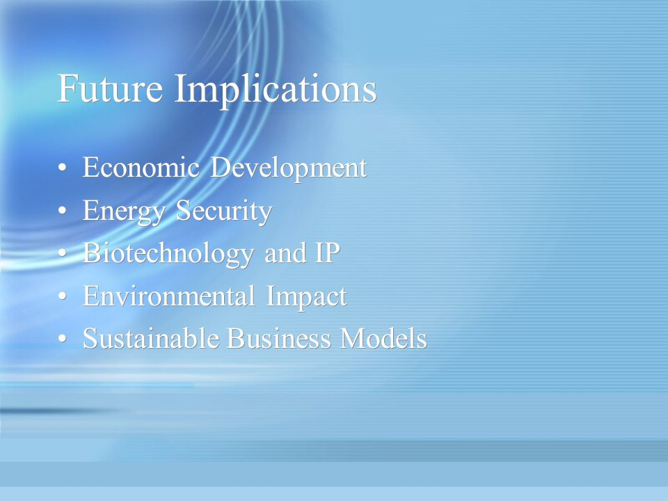 Future Implications Economic Development Energy Security