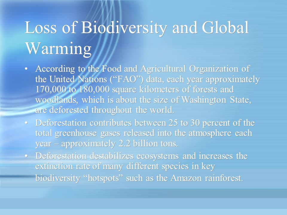 Loss of Biodiversity and Global Warming