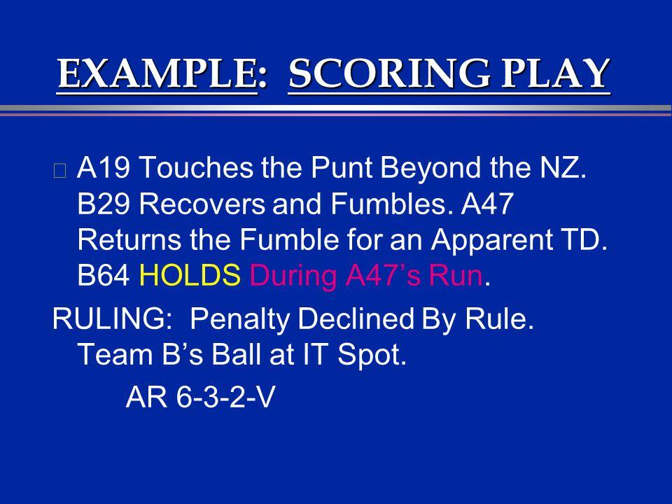 EXAMPLE: SCORING PLAY