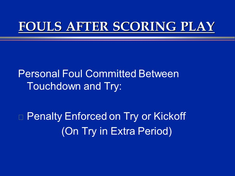 FOULS AFTER SCORING PLAY