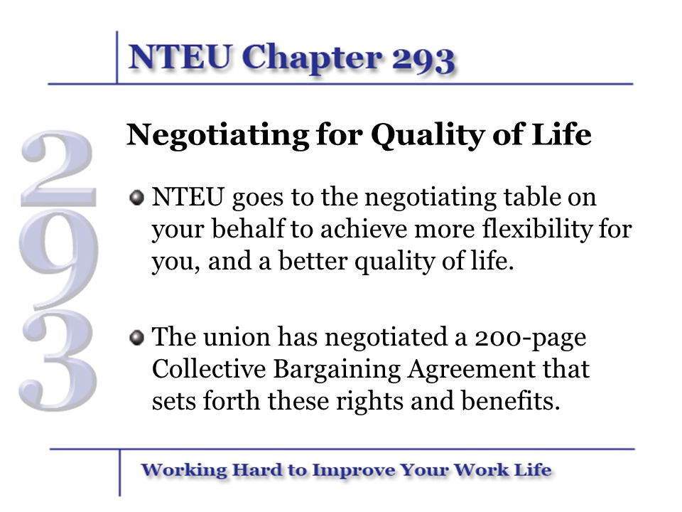 Negotiating for Quality of Life