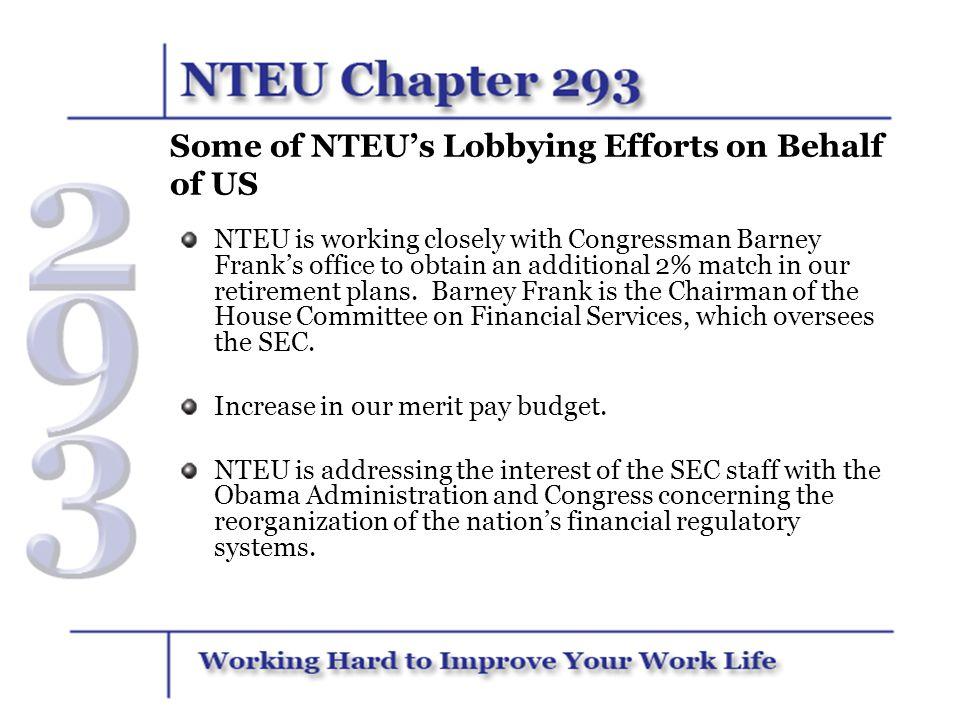 Some of NTEU's Lobbying Efforts on Behalf of US
