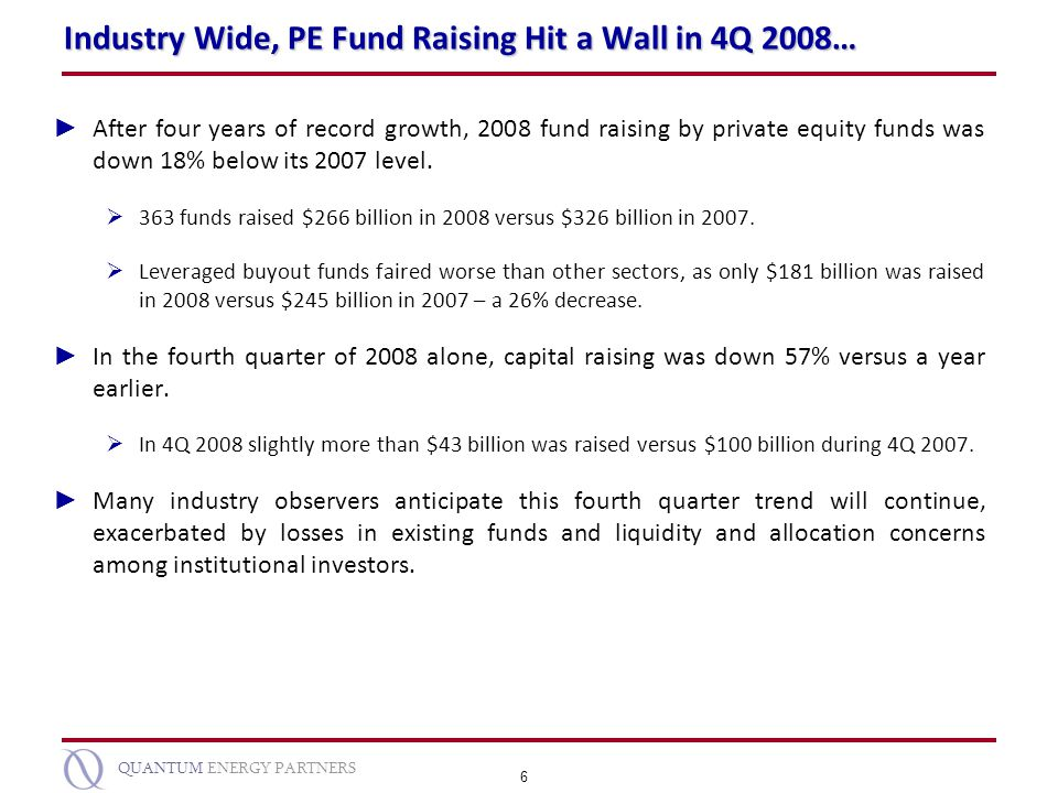 Industry Wide, PE Fund Raising Hit a Wall in 4Q 2008…
