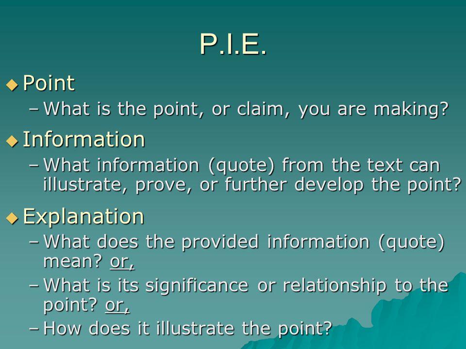 P.I.E. Point Information Explanation