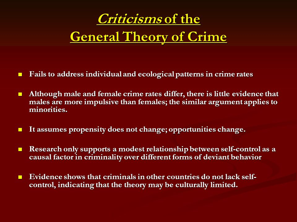 Criticisms of the General Theory of Crime