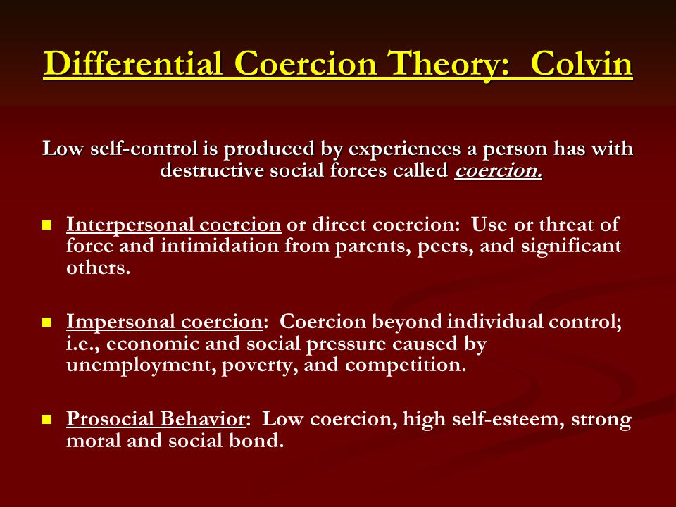 Differential Coercion Theory: Colvin