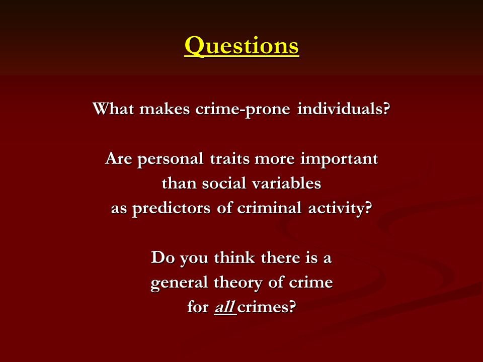 the three theories linked to the latent trait theory in criminology One of the theories that one can study through criminology is the life course theory, which is a perspective that focuses on the development of antisocial behavior, risk factors at different ages, and the effect of life events on individual development (fuller: pg 140.