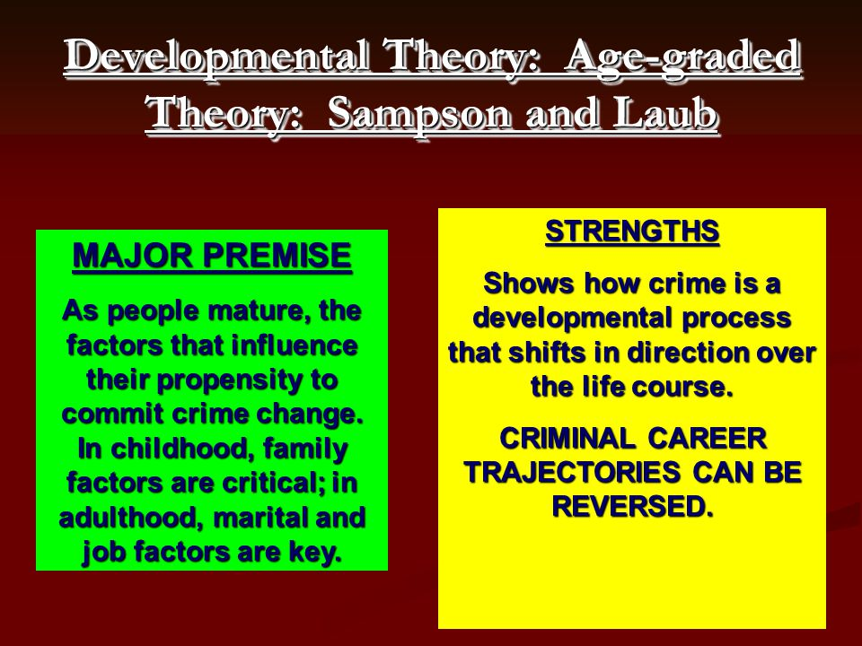 Developmental Theory: Age-graded Theory: Sampson and Laub