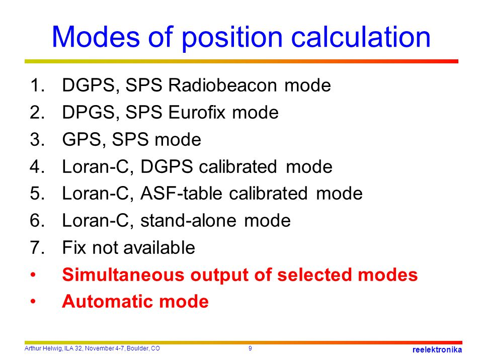 Modes of position calculation
