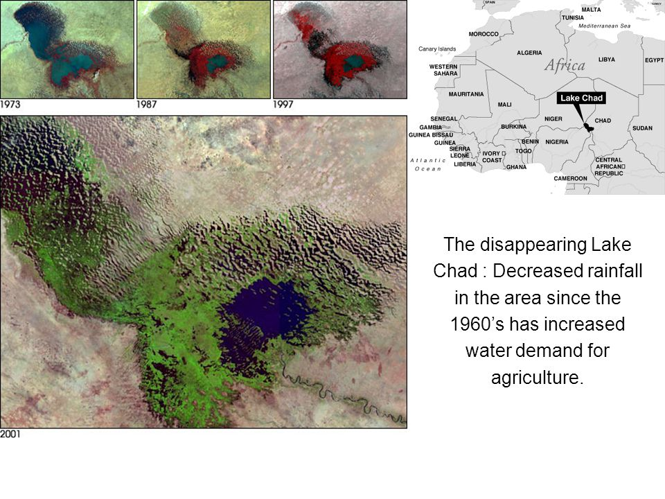 The disappearing Lake Chad : Decreased rainfall in the area since the 1960's has increased water demand for agriculture.