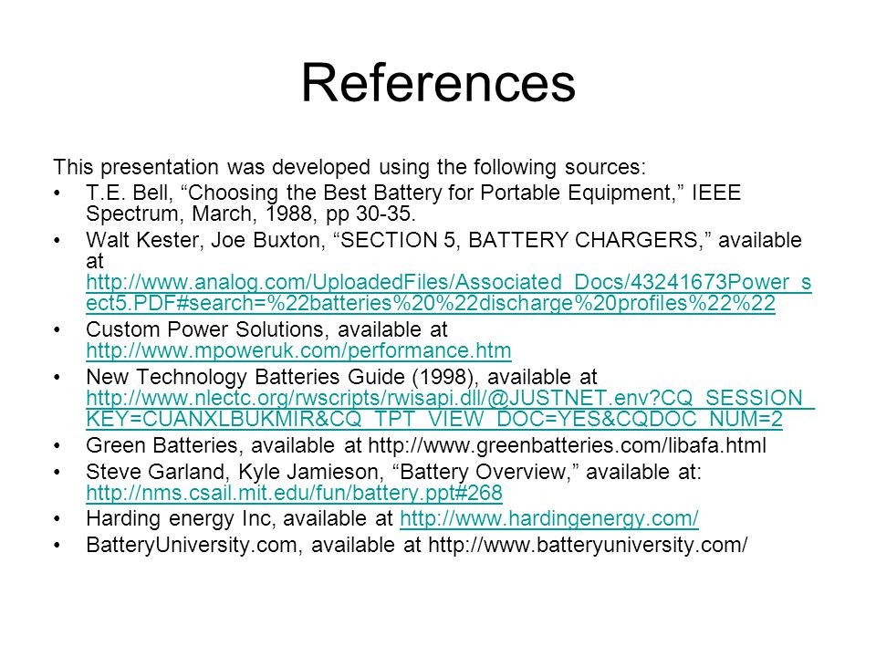 References This presentation was developed using the following sources: