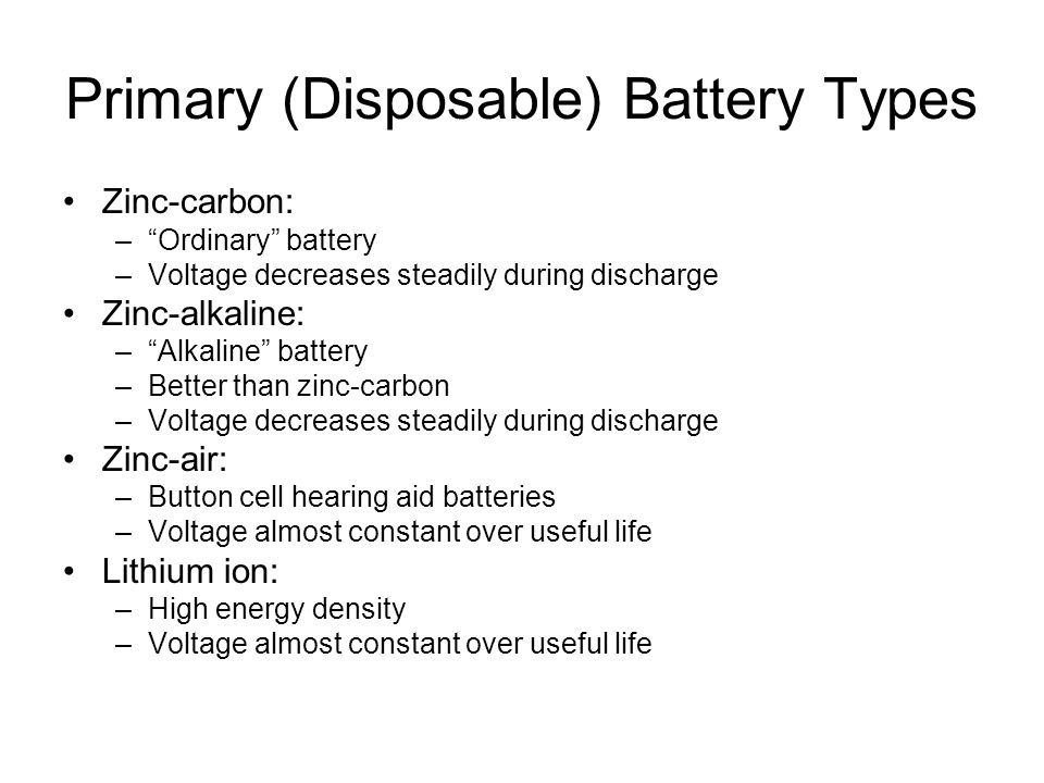 Primary (Disposable) Battery Types