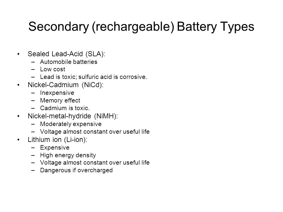 Secondary (rechargeable) Battery Types