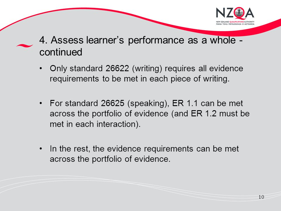 4. Assess learner's performance as a whole - continued