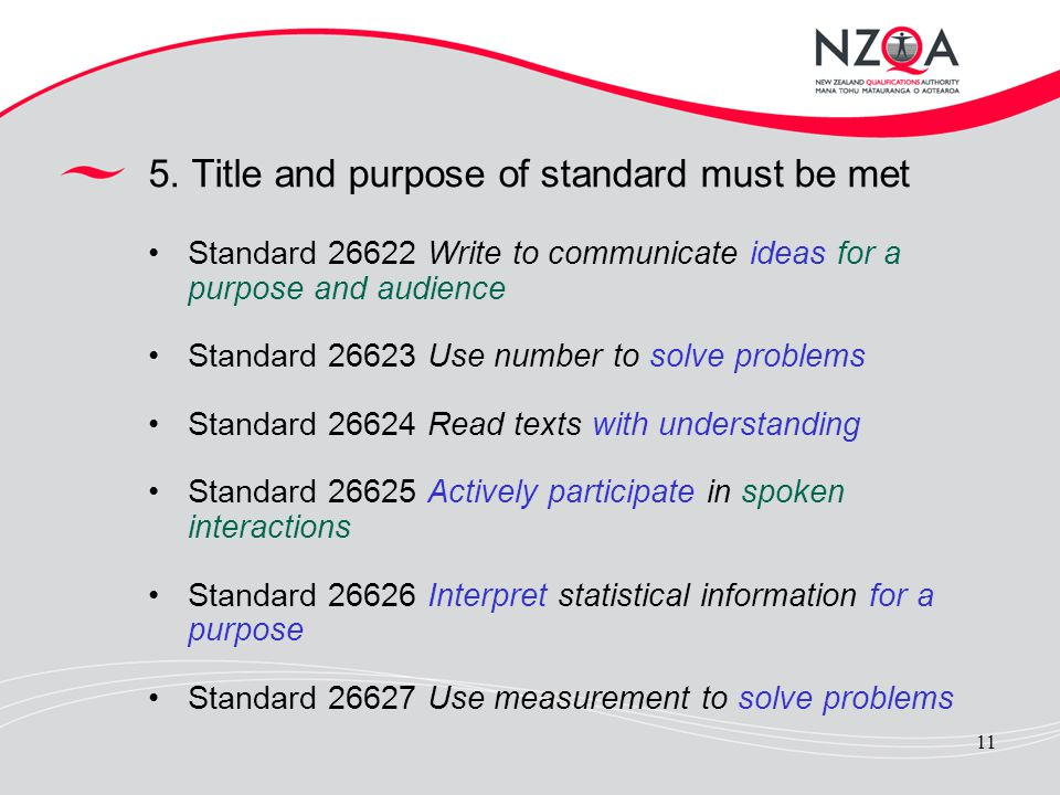 5. Title and purpose of standard must be met