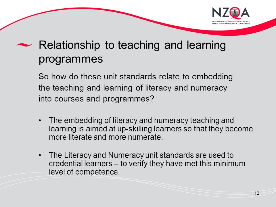 Relationship to teaching and learning programmes