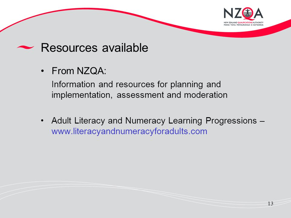 Resources available From NZQA: