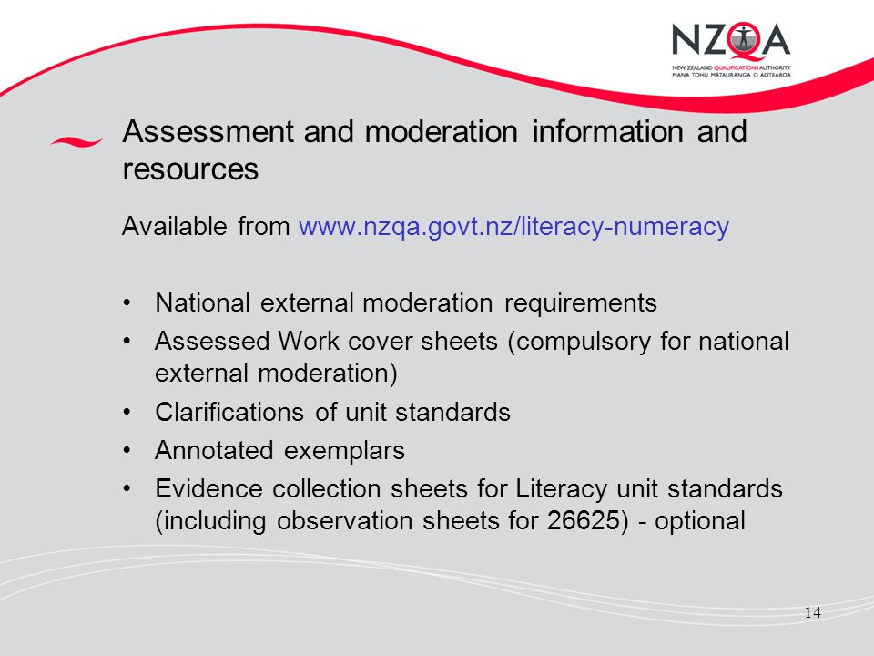 Assessment and moderation information and resources
