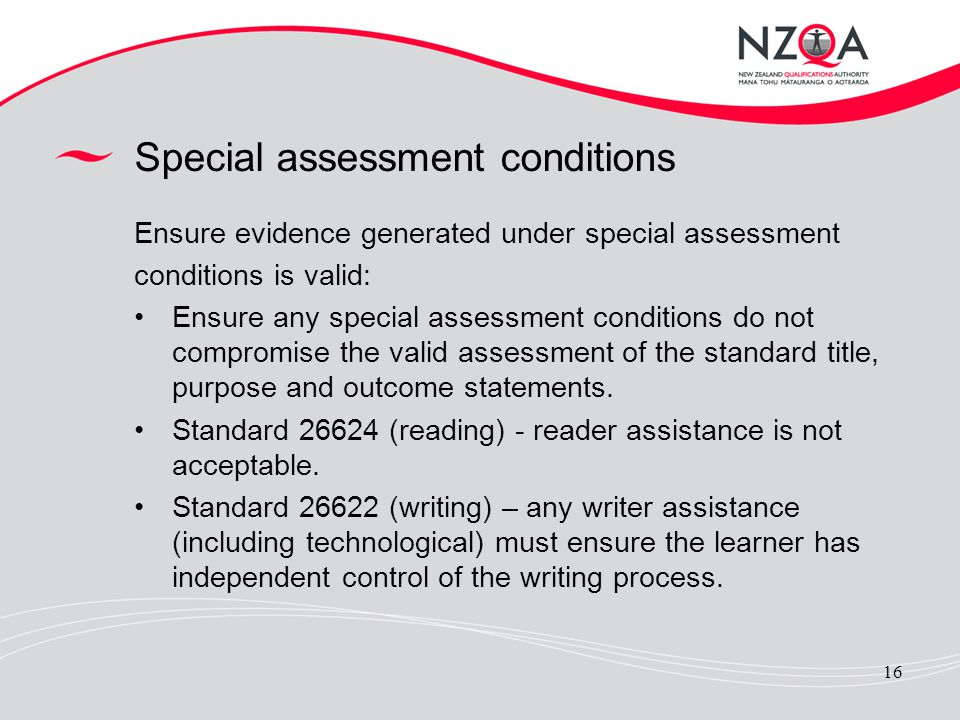 Special assessment conditions