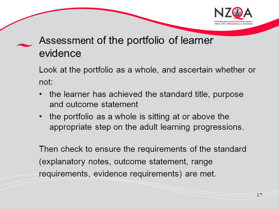 Assessment of the portfolio of learner evidence
