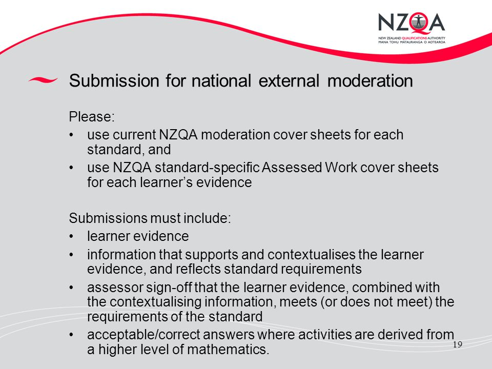 Submission for national external moderation