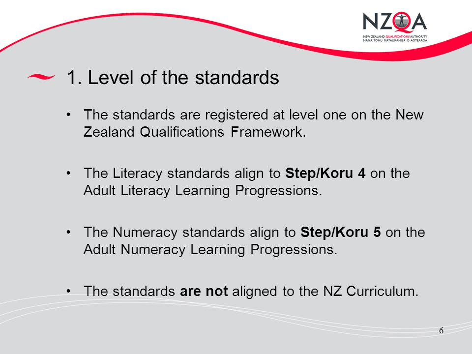 1. Level of the standards The standards are registered at level one on the New Zealand Qualifications Framework.