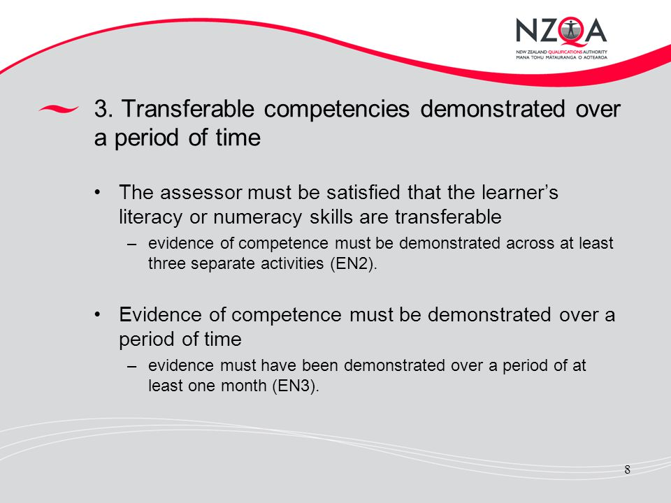 3. Transferable competencies demonstrated over a period of time