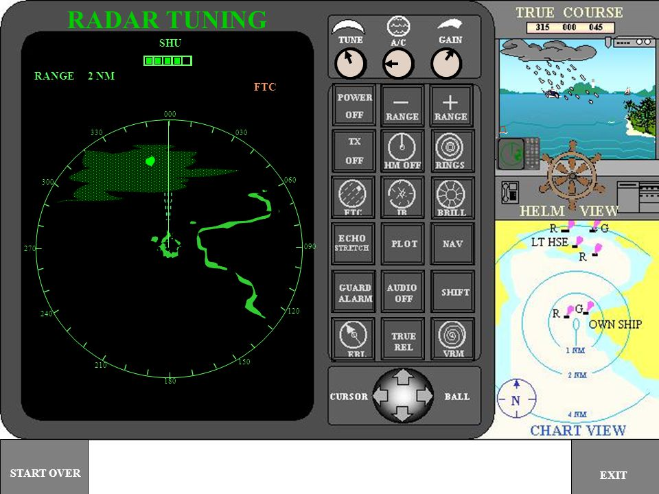 RADAR TUNING SHU RANGE 2 NM FTC START OVER EXIT 000 330 030 300 060