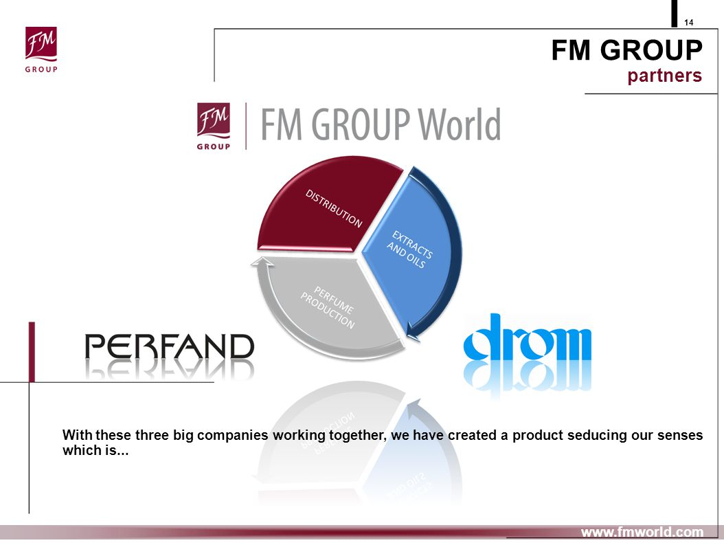 29.10.08 14. FM GROUP partners. With these three big companies working together, we have created a product seducing our senses which is...