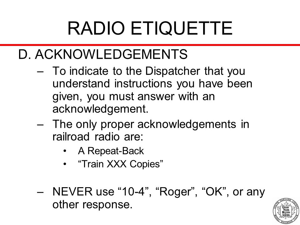 RADIO ETIQUETTE D. ACKNOWLEDGEMENTS