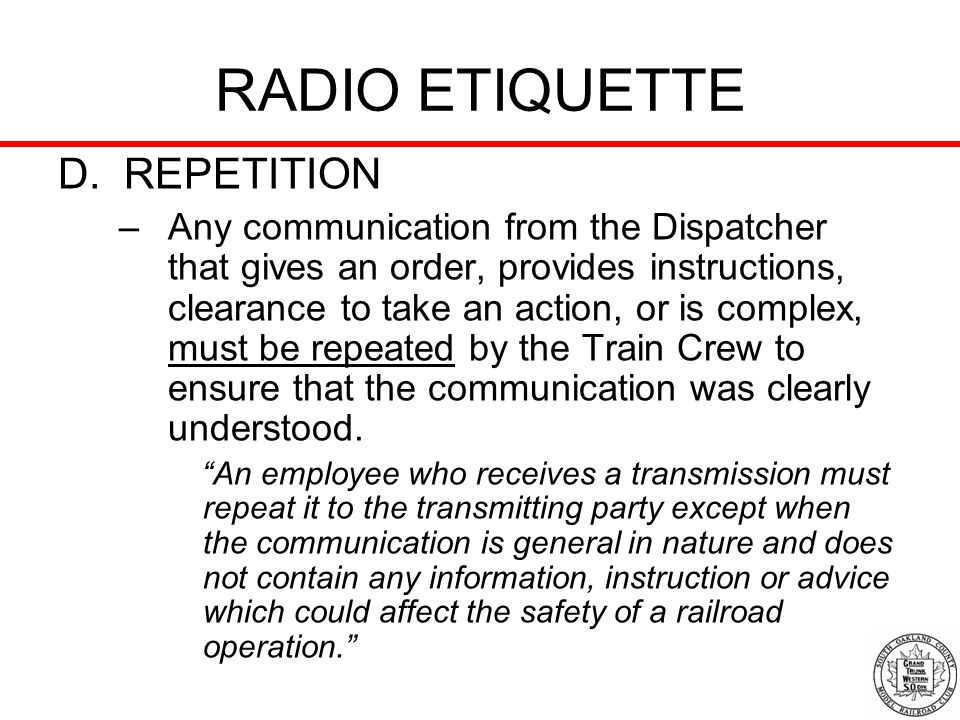 RADIO ETIQUETTE D. REPETITION