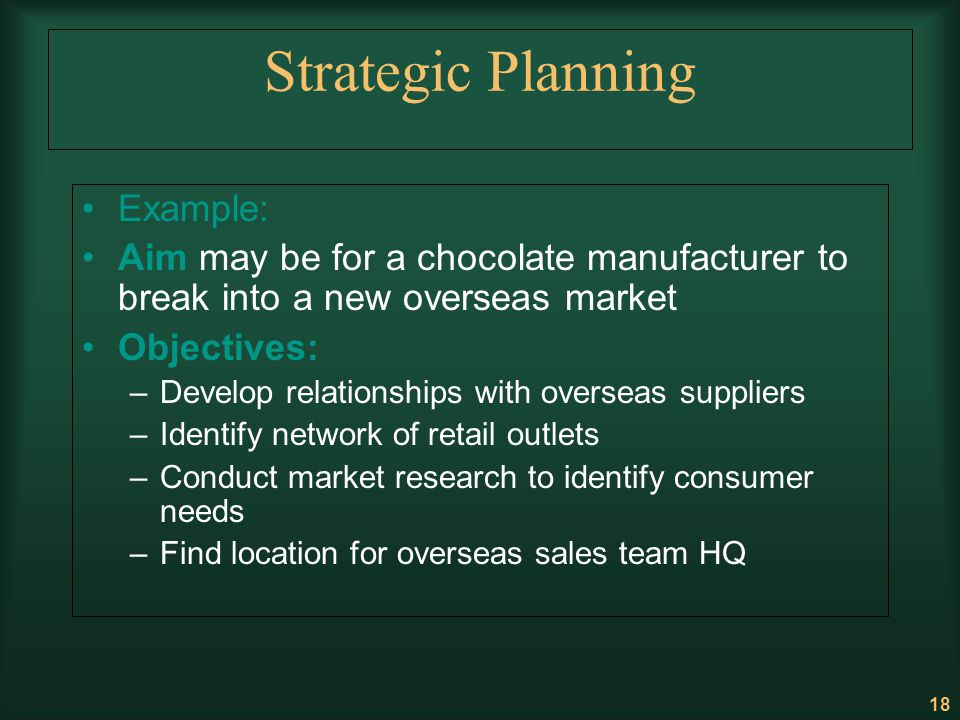 Strategic Planning Example: