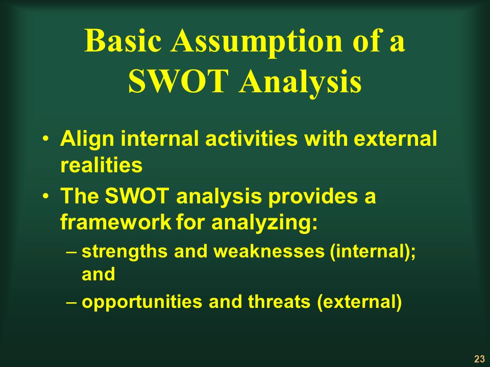Basic Assumption of a SWOT Analysis