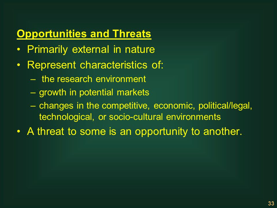 Opportunities and Threats Primarily external in nature