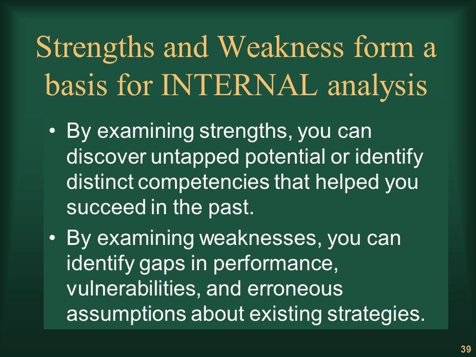 Strengths and Weakness form a basis for INTERNAL analysis