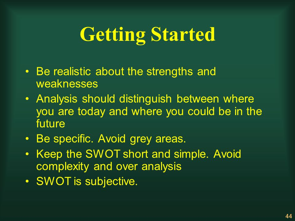 Getting Started Be realistic about the strengths and weaknesses