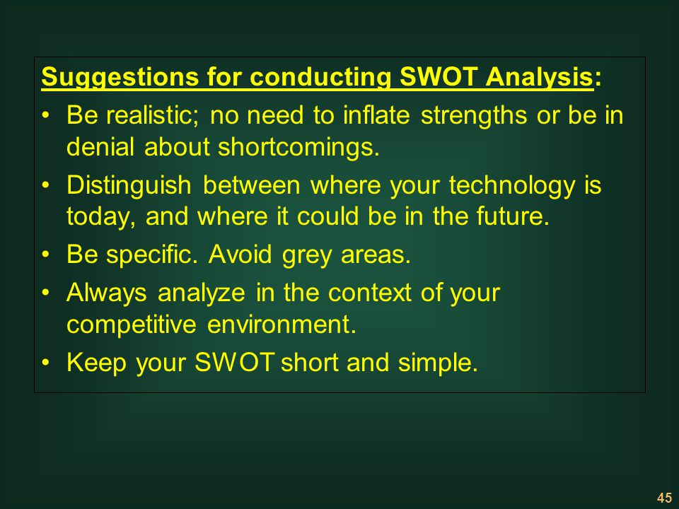 Suggestions for conducting SWOT Analysis: