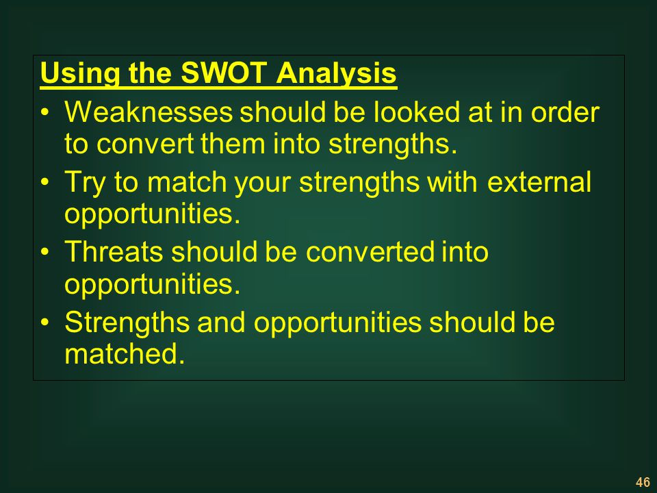 Using the SWOT Analysis