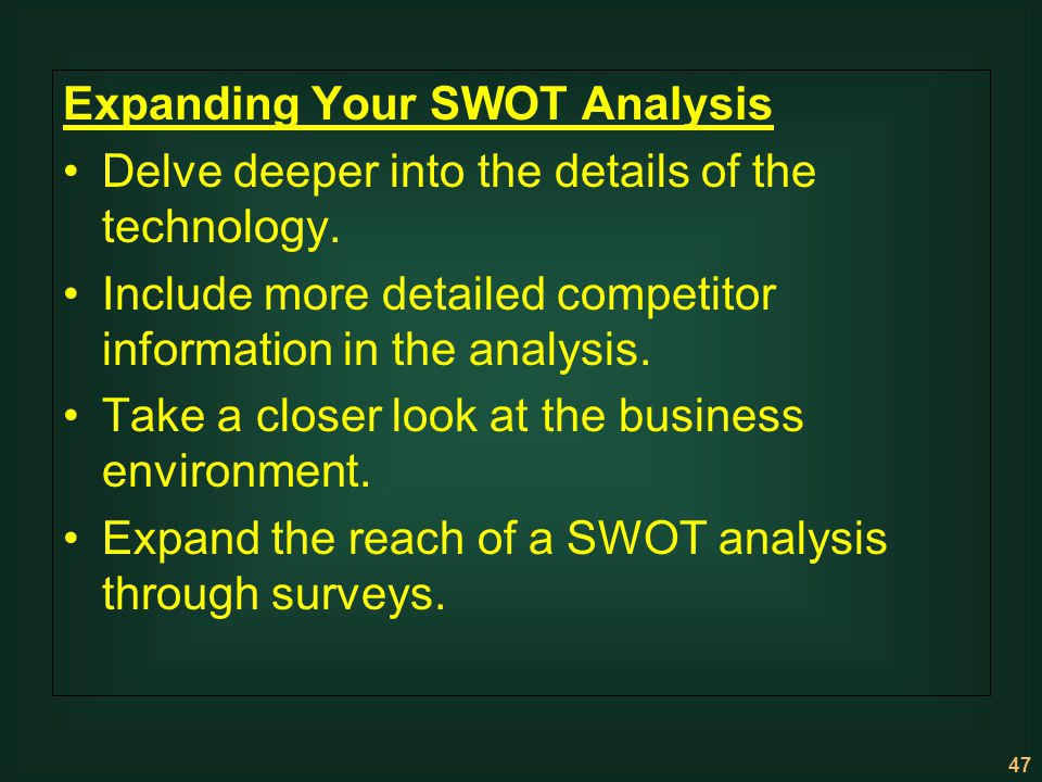 Expanding Your SWOT Analysis