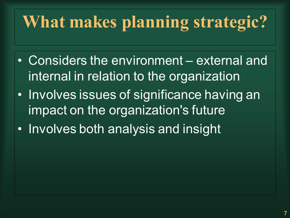 the strategic issue and impact of Strategic planning improves the performance of your organization by systematically addressing the most important issues.