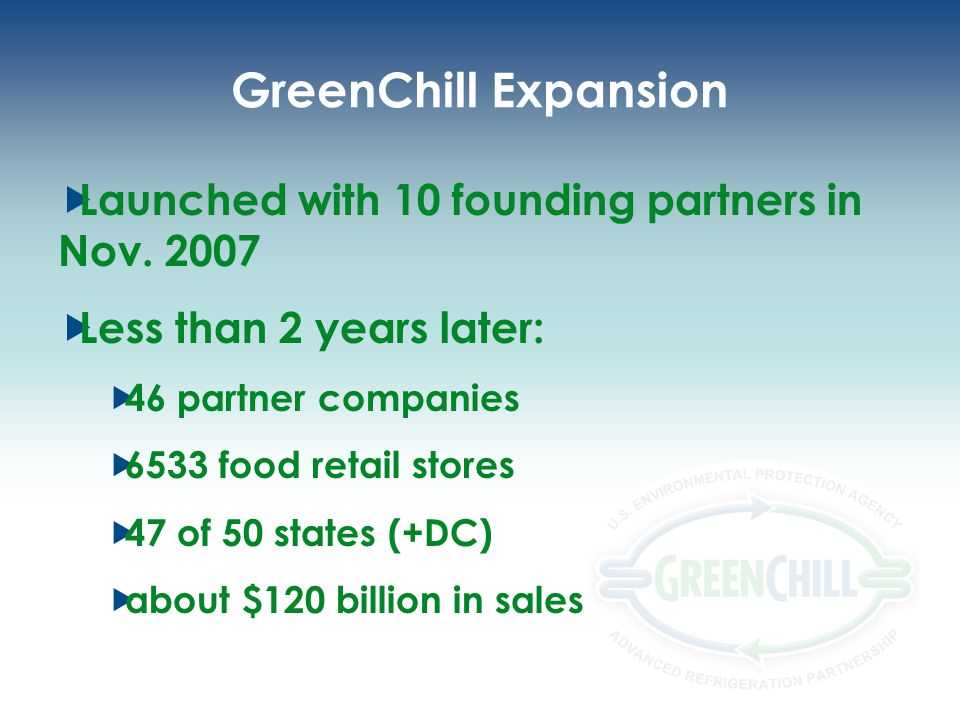 GreenChill Expansion Launched with 10 founding partners in Nov. 2007