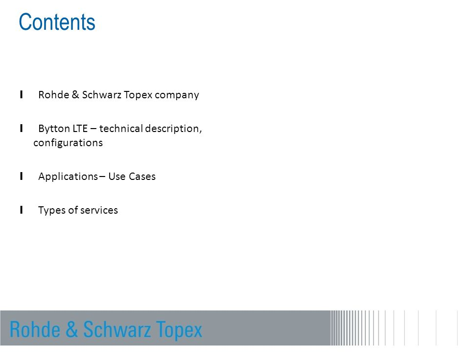 Contents Rohde & Schwarz Topex company