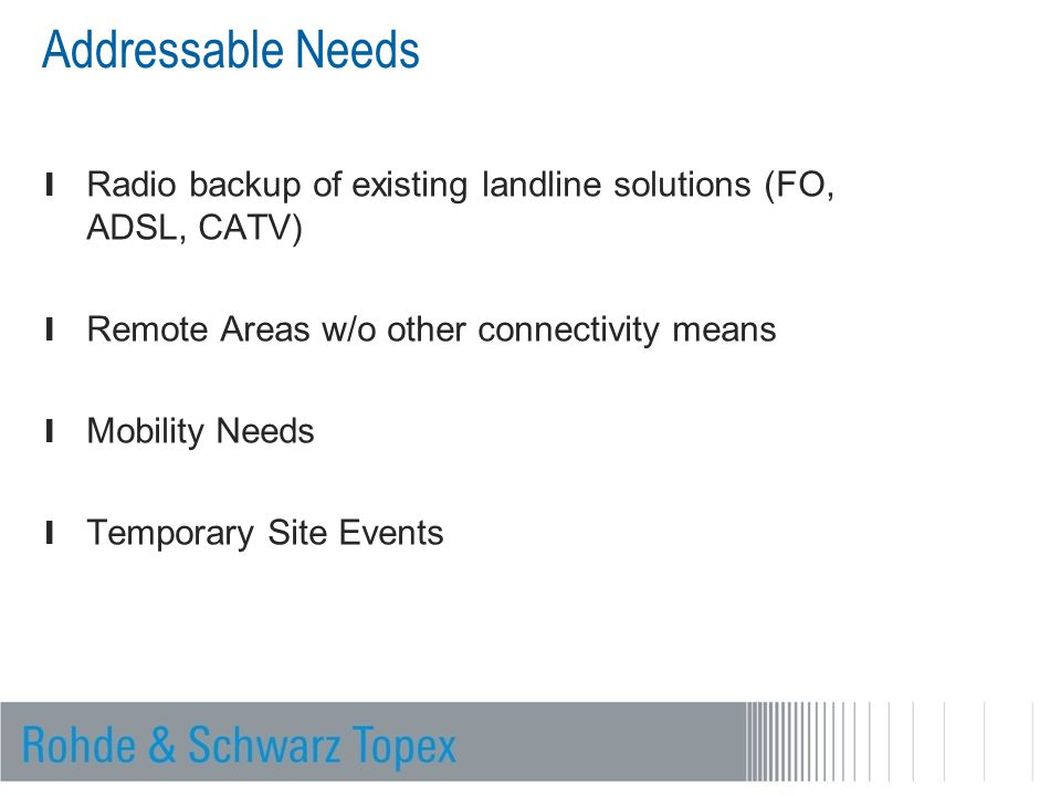 Addressable Needs Radio backup of existing landline solutions (FO, ADSL, CATV) Remote Areas w/o other connectivity means.