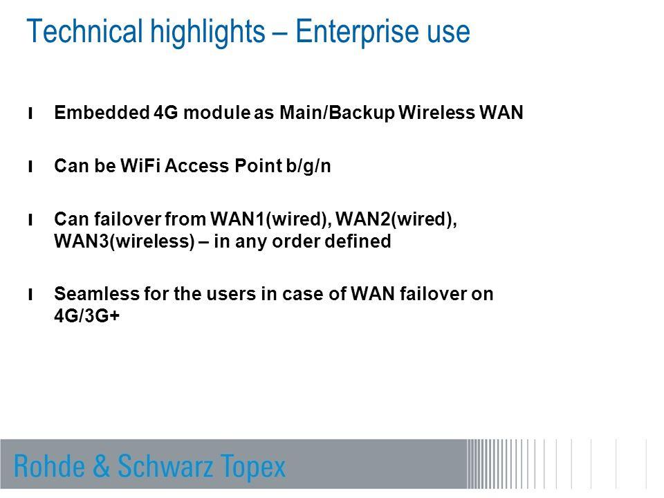 Technical highlights – Enterprise use