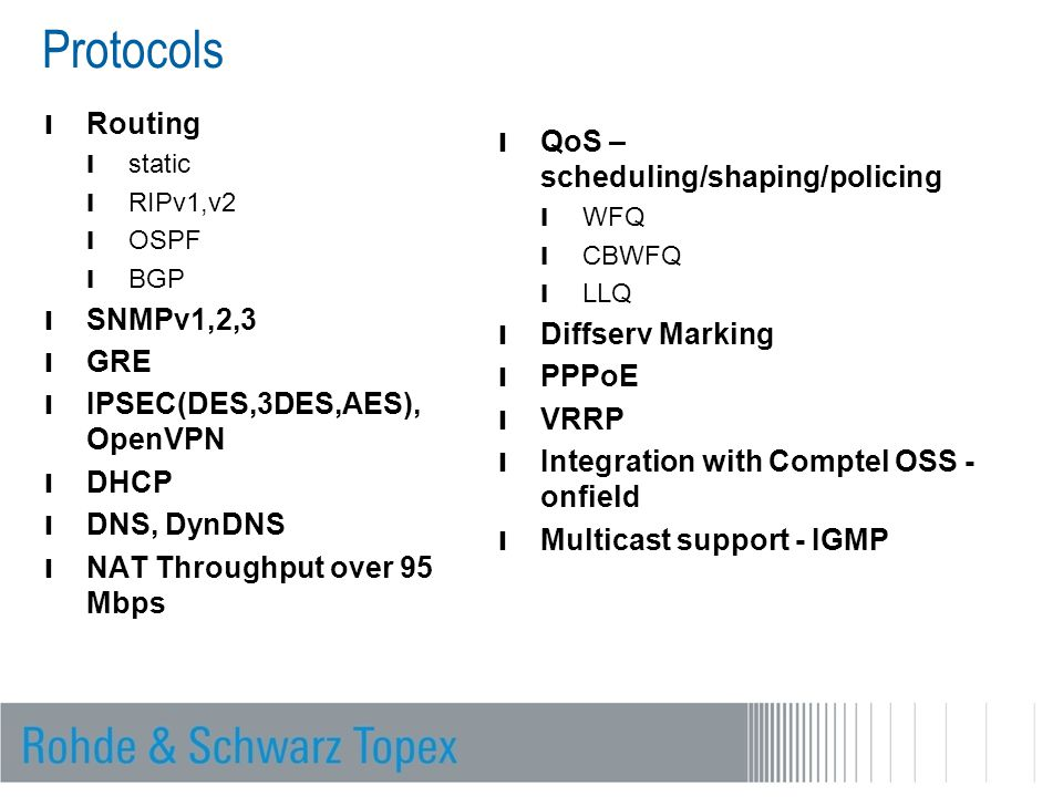 Protocols Routing QoS – scheduling/shaping/policing SNMPv1,2,3