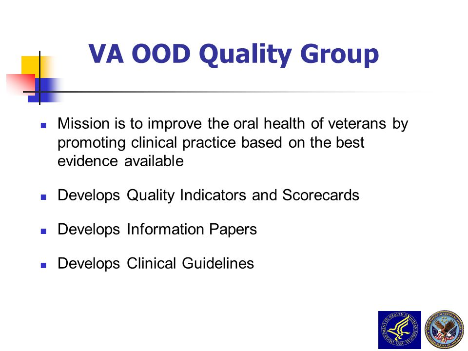 VA PCS Grand Rounds Nov 23 2009 3/31/2017. VA OOD Quality Group.