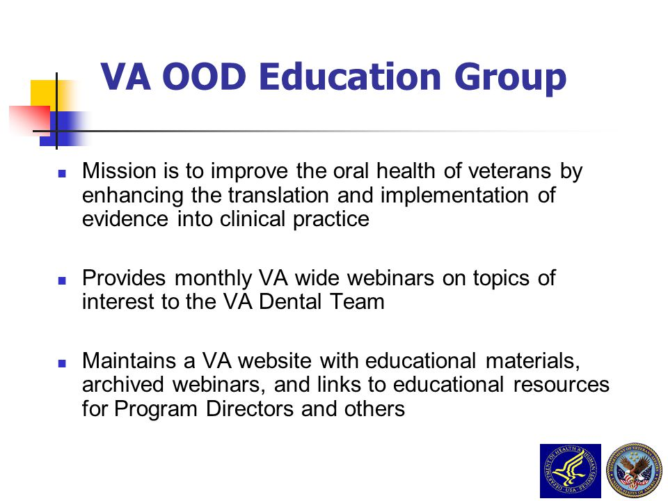 VA PCS Grand Rounds Nov 23 2009 3/31/2017. VA OOD Education Group.