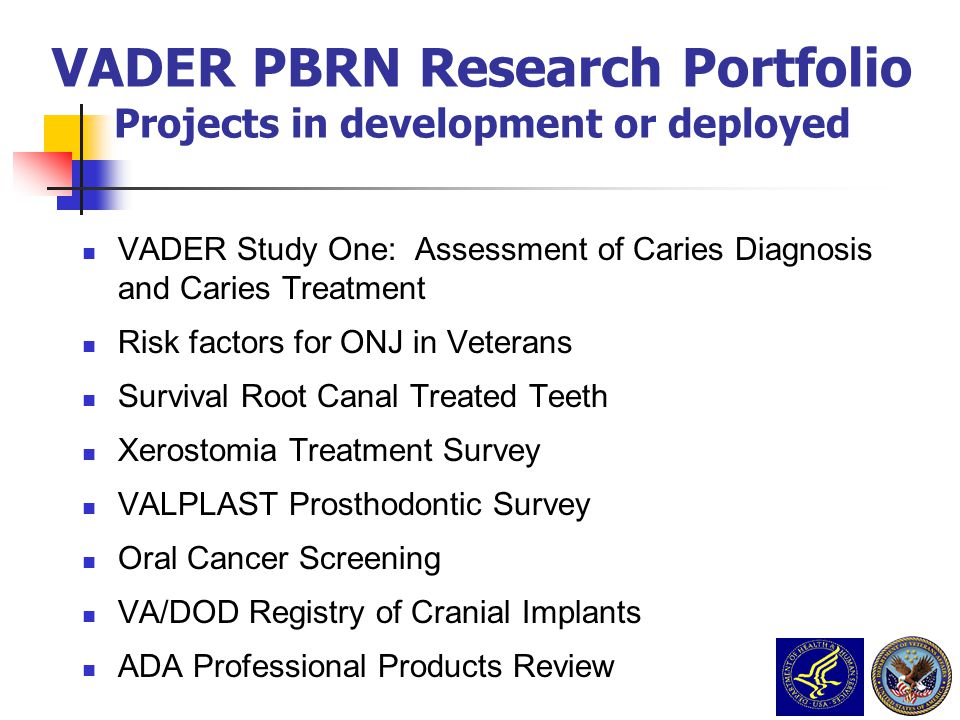 VADER PBRN Research Portfolio Projects in development or deployed
